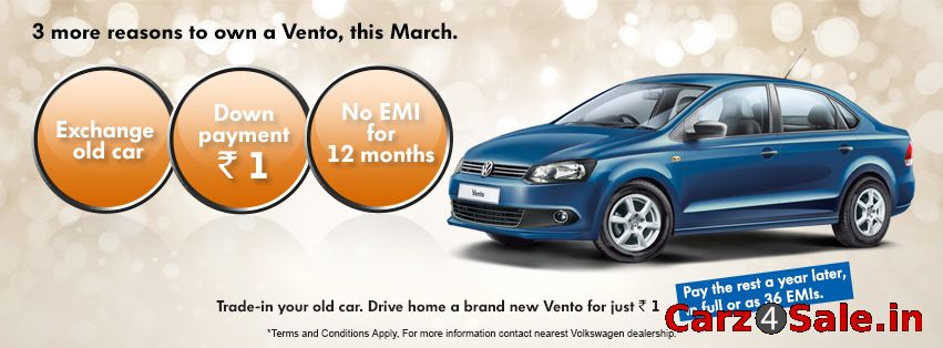 Exchange the old car and pay just Rs.1, get a Volkswagen Vento.  As per the Society of Indian Automobile...